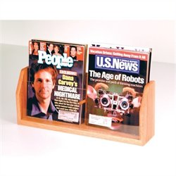 2 Pocket Countertop Magazine Display in Light Oak