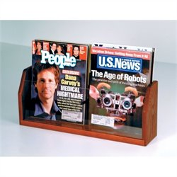 Wooden Mallet Countertop Magazine Display with 2 Pockets in Mahogany