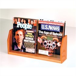 Wooden Mallet Countertop Magazine Display with 2 Pockets in Medium Oak