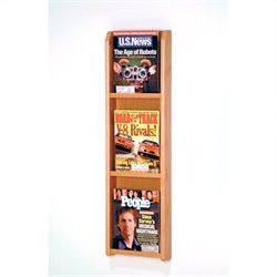Wooden Mallet 3 Pocket Magazine Wall Display in Light Oak