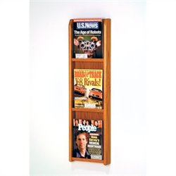 Wooden Mallet 3 Pocket Magazine Wall Display in Medium Oak