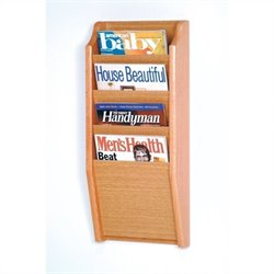 Wooden Mallet 4 Pocket Magazine Wall Rack in Light Oak