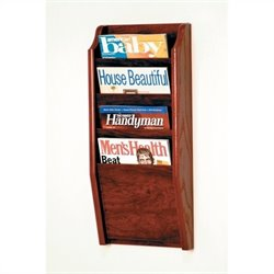 Wooden Mallet 4 Pocket Magazine Wall Rack in Mahogany