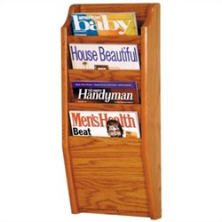 Wooden Mallet 4 Pocket Magazine Wall Rack in Medium Oak
