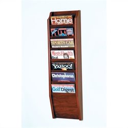 Wooden Mallet 7 Pocket Magazine Wall Rack in Mahogany