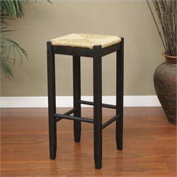 American Heritage Rattan Bar Stool in Black