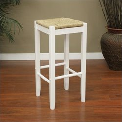 American Heritage Rattan Bar Stool in White
