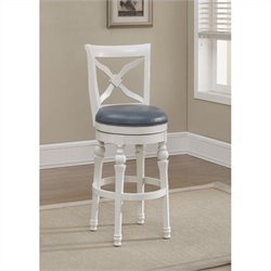 American Heritage Billards Livingston Bar Stool in Antique White and Cornflower