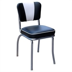 Richardson Seating Retro 1950s V-Back Chrome Diner Dining Chair in Black and White