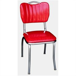 Richardson Seating Retro 1950s Handle Back Diner  Dining Chair in Cracked Ice Red