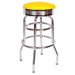 Retro 1950s Chrome Backless Barstool Finish