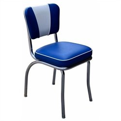 Richardson Seating Retro 1950s V-Back Chrome Diner Dining Chair in Royal Blue and White