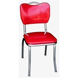 Richardson Seating Retro 1950s Handle Back Chrome Diner Dining Chair in Cracked Ice Red