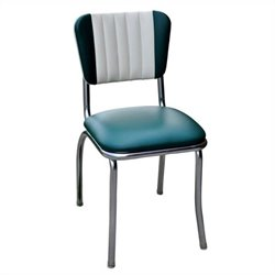 Richardson Seating Retro 1950s Two Tone Channel Back Diner Dining Chair in Green and White