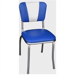 Richardson Seating Retro 1950s Chrome Dining Chair in Royal Blue and White