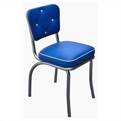 Richardson Seating Retro 1950s Chrome Diner Dining Chair with Button Tufted Back in Royal Blue