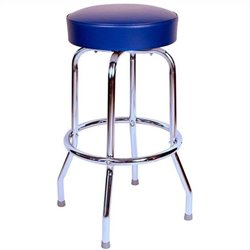 Richardson Seating Retro 1950s Backless Swivel Bar Stool in Blue