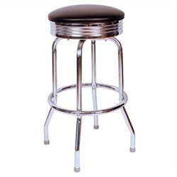 Richardson Seating Retro 1950s Chrome Swivel Bar Stool in Black