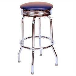 Richardson Seating Retro 1950s Chrome Swivel Bar Stool in Blue