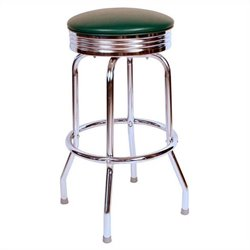 Richardson Seating Retro 1950s Chrome Swivel Bar Stool in Green
