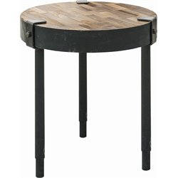 Renwil Seebach Accent Table in Rusted Metal and Weathered Wood