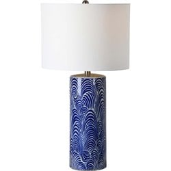 Renwil Stafford Table Lamp in Blue and White