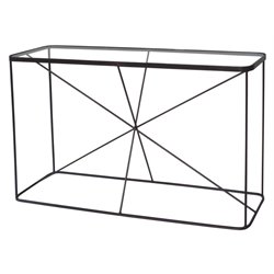Renwil Blueprint Glass Top Console Table in Raw Iron