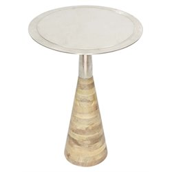 Renwil Elmshade Round Accent Table in Raw Nickel and Wood
