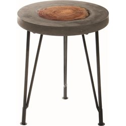 Renwil Oakshade Round Accent Table in Natural Wood and Concrete