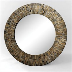 Renwil Aventurine Mirror in Black Mosaic