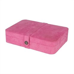 Mele Co. Maria Plush Fabric Jewelry Box with Twenty-Four Sections in Pink