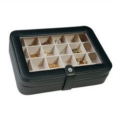 Mele Co. Elaine Faux Leather Glass Top Jewelry Box in Black