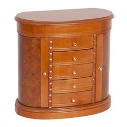 Mele and Co. Trinity Wooden Jewelry Box in Burlwood Walnut