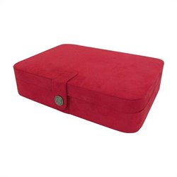 Mele Co. Maria Plush Fabric Jewelry Box with Twenty-Four Sections in Red