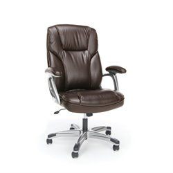 Essentials Ergonomic High Back Leather Office Chair in Brown