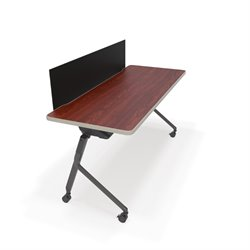 Mesa Privacy Panel Folding Table in Cherry and Black