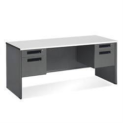 Executive Desk Shell double pedestal in Nebula