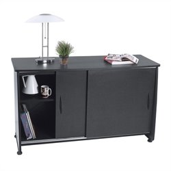 Sliding Door Credenza in Graphite