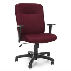 Executive Conference Office Chair with Adjustable Arms in Burgundy
