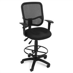 Ergonomic Task Drafting Chair with Arms Draft Kit in Black