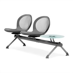 Beam Guest Chair With 2 Seats And Table in Gray