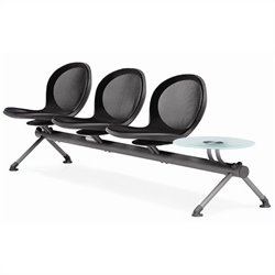 Beam Guest Chair With 3 Seats And Table in Black