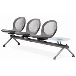 Beam Guest Chair With 3 Seats And Table in Gray