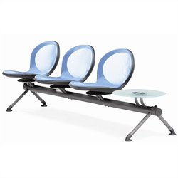 Beam Guest Chair With 3 Seats And Table in Sky Blue