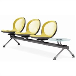 Beam Guest Chair With 3 Seats And Table in Yellow