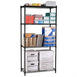 Wire Shelving 4-Shelf in Black