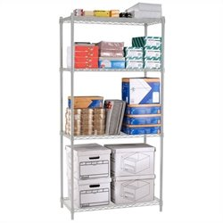 Wire Shelving 4-Shelf 36 X 72 X 18 in Silver