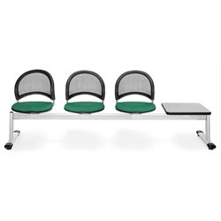 Beam Seating with 3 Seats and Table in Shamrock Green and Gray