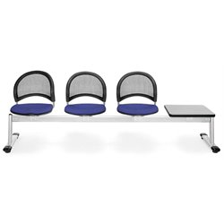 Beam Seating with 3 Seats and Table in Royal Blue and Gray