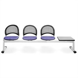 Beam Seating with 3 Seats and Table in Lavender and Gray